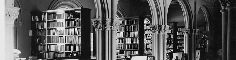 Photo Title: Library Stacks, Balcony and Art Gallery, Main Hall, Smithsonian Institution building. Date: Prior to 1914.  Repository: Smithsonian Institution Archives Record Unit 95.